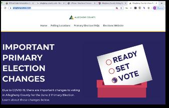 screen-capture image of legitimate '.com' election site